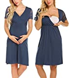 MAXMODA Women's Maternity Hospital Gown Leisure Wear Pregnancy Dress (Navy Blue, X-Large)