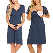 MAXMODA Women's Lace Sleeve Nursing Sleepdress Maternity Night Gown Long Sleep Wear (Navy Blue/XXL)
