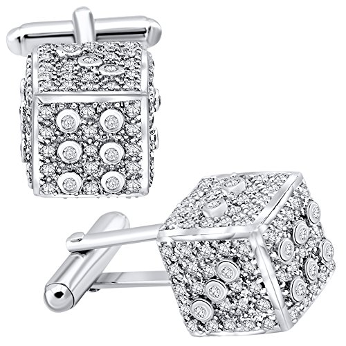 Men's Sterling Silver .925 Original Design Dice Cube Cufflinks with Round Cubic Zirconia Stones, Platinum Plated, Secure Solid Hinges, 15 mm by Sterling Manufacturers