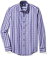 "BUTTONED DOWN Men's Slim Fit Supima Cotton Spread-Collar Pattern Dress Casual Shirt, Dark Purple Plaid, 17-17.5"" Neck 38-39"" Sleeve"