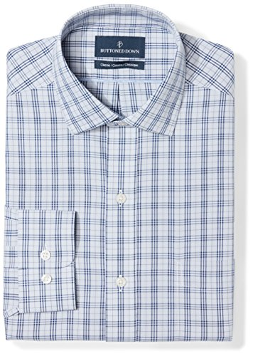 (BUTTONED DOWN Men's Classic Fit Spread Collar Pattern Non-Iron Dress Shirt, Grey/Blue Plaid, 17.5