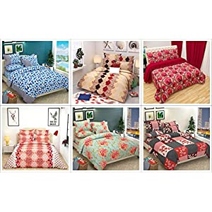 Shivaan Home Furnishing Cotton Blend 180 TC Bedsheet (Double_Multicolour)