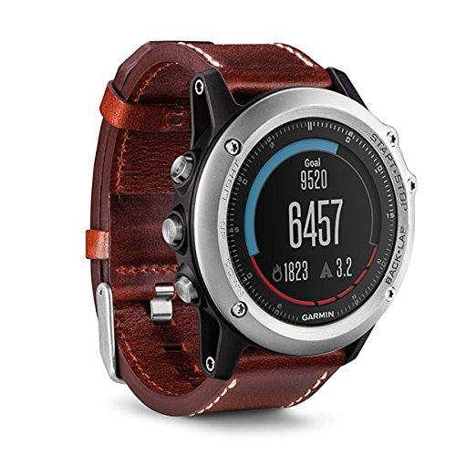Garmin Fēnix 3 Zafiro paquete de rendimiento - Reloj multideporte con GPS, color plata y correa de cuero