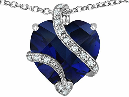 Star K Large 15mm Heart Shape Simulated Blue Sapphire Love Pendant Necklace Sterling Silver