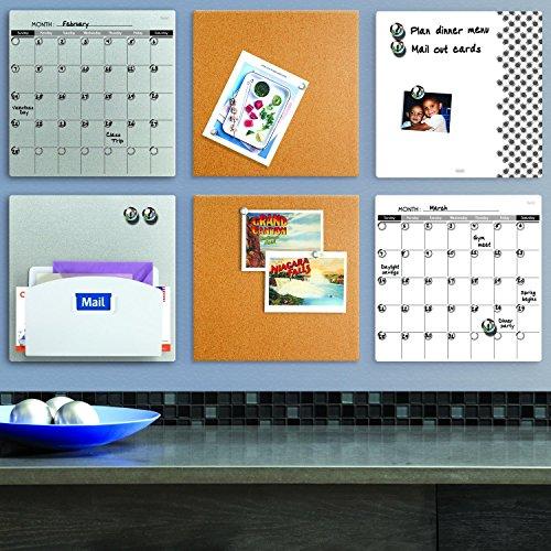 """Quartet Magnetic Whiteboard Tile, 14"""" x 14"""" Dry Erase Board, White Board, Frameless, White Surface (85402-WT)"""