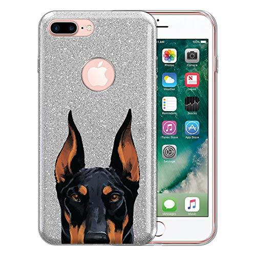 - FINCIBO Case Compatible with Apple iPhone 7 Plus / 8 Plus, Sparkling Silver Bling Glitter TPU Protector Cover Case for iPhone 7 Plus / 8 Plus (NOT FIT iPhone 7/8) - Black Rust Doberman Pinscher Dog