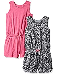 Amazon Brand - Spotted Zebra Girls' Toddler & Kids 2-Pack Knit Sleeveless Tank Rompers
