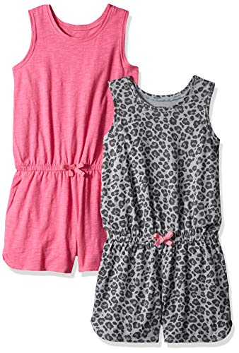 Spotted Zebra Little Girls' 2-Pack Knit Sleeveless Tank Rompers, Cheetah/Pink X-Small -