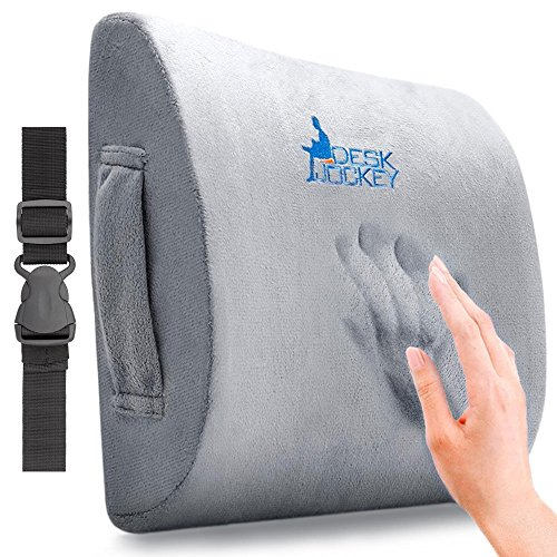 Desk Jockey Lower Back Pain Lumbar Pillow Support Cushion - Clinical Grade Memory Foam Orthopedic for Car Driving & Office Chairs