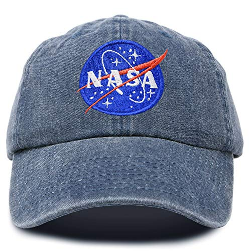 DALIX NASA Hat Baseball Cap Washed Cotton Embroidered Logo Pigment Dyed in Navy Blue