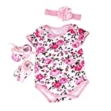 DZT1968® 1 Set Baby Girl Floral Romper With Shoes Headband