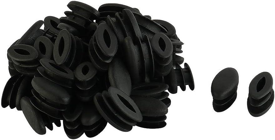 sourcingmap/® Casa Ufficio Ovale in plastica a forma di sedia tavolo gamba piedi Tubo di inserimento nero 50pz