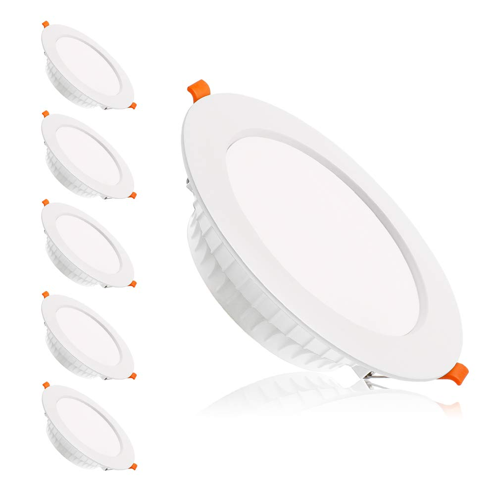 6 inch Dimmable LED Downlight, 110V 16W, 6000K Daylight/Pure White Retrofit Recessed Lighting, CRI 80 with LED Driver, No Can Needed, 6 Pack