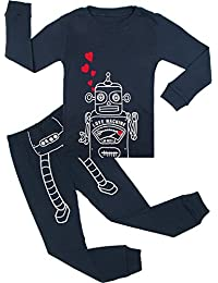 BOOPH Boys Pajamas 2 Piece Robot Long Sleeve Pajama Set 100% Cotton sleepwear 2T-7T