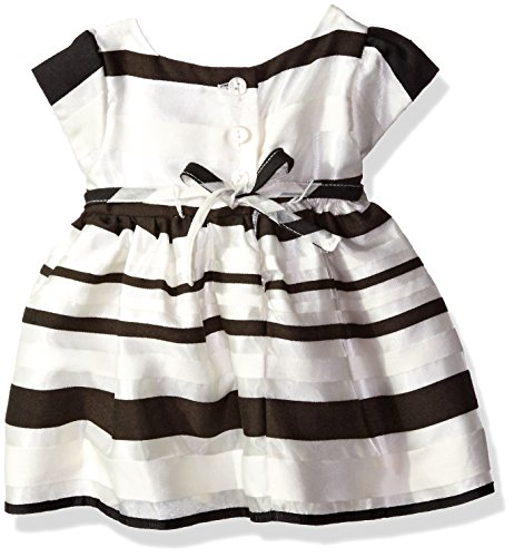 Sweet Heart Rose Little Girls Stripe Organza Dress with Bow Detail, Black/Ivory, 3-6 Months