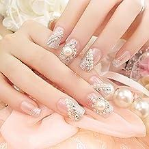 Spritech(TM) 24 Pre Design Elegant Flower Bling Rhinestone Fake Nail Piece for Bride Salon Laday Daily Use