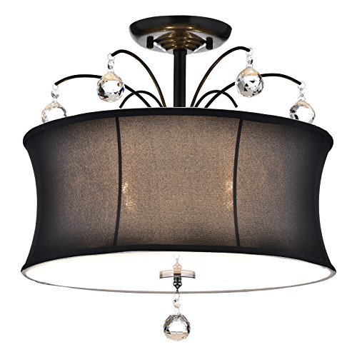 Edvivi 4-Light Black Fabric Drum Shade Semi Flush Mount Chandelier with Crystals | Glam ()