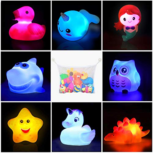 Bath Toys(8 Packs Rubber Animal Toys & 1 Pack Bath Toy Organizer),Light Up Floating Rubber Toys,Flashing Color Changing Light in Water,Bathtub Shower Games Toys for Baby Kids Toddler Child