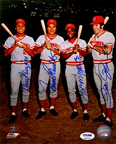 Cincinnati Reds Big Red Machine Autographed 8x10 Photo With 4 Total Signatures Including Johnny Bench, Pete Rose, Joe Morgan & Tony Perez PSA/DNA ITP Stock #143916