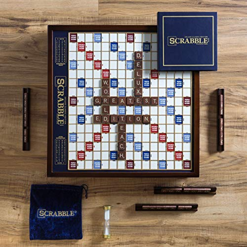 Winning Solutions  Scrabble Deluxe Wooden Edition with Rotating Game (Scrabble Board Game)