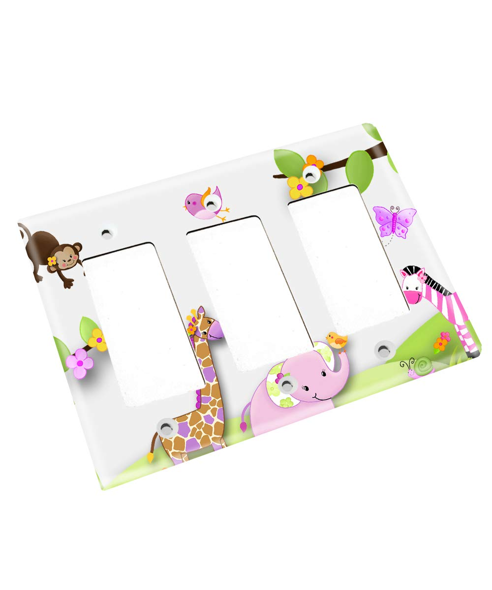 Single Standard All Creatures Big and Small Pink Gray Elephants and Birdies Girls Bedroom Light Switch Cover LS0042