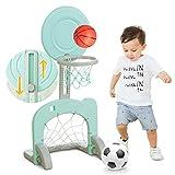 Children's Two in One Basketball Football Goal,Kindergarten Indoor Outdoor Toy,Adjustable Football Frame Basketball Box