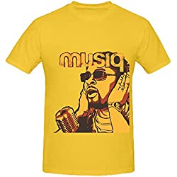 Musiq Soulchild Juslisen Mens Crew Neck Slim Fit T Shirts Yellow