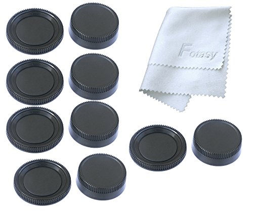 Fotasy NK5 5x Rear Lens Cover and Camera Body Cap Set, Cleaning Cloth for Nikon DSLR (Black)