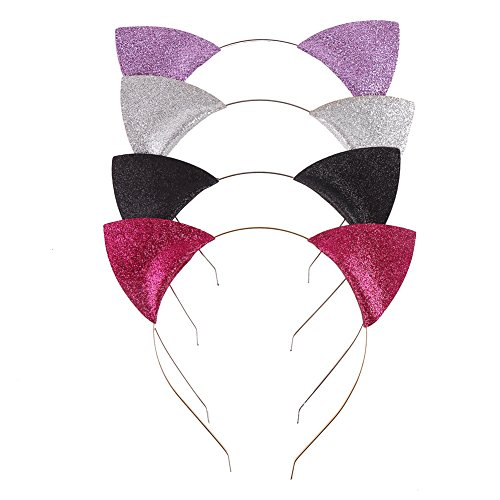 LOAVER 4 Pieces Glitter Kitty Headbands Cute Cat Ears Hair Hoops for Daily Wearing and Party Decoration