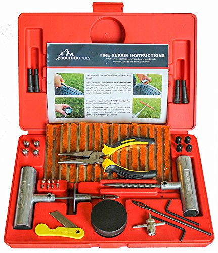 Repair Plug Tire (Boulder Tools - 56 Pc Heavy Duty Tire Repair Kit For Car, Truck, RV, Jeep, ATV, Motorcycle, Tractor, Trailer. Flat Tire Puncture Repair Kit)
