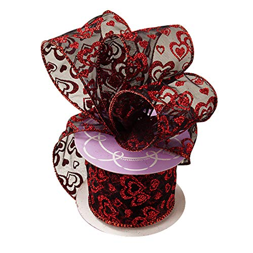 "Valentine Glitter Hearts Sheer Ribbon - 2 1/2"" x 10 Yards, Metallic Red Glitter Hearts on Sheer Black Wired Ribbon, Valentine"
