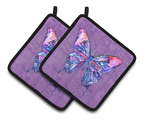 Caroline's Treasures Butterfly On Purple Pair of Pot Holders 8860PTHD, 7.5HX7.5W, Multicolor from Caroline's Treasures