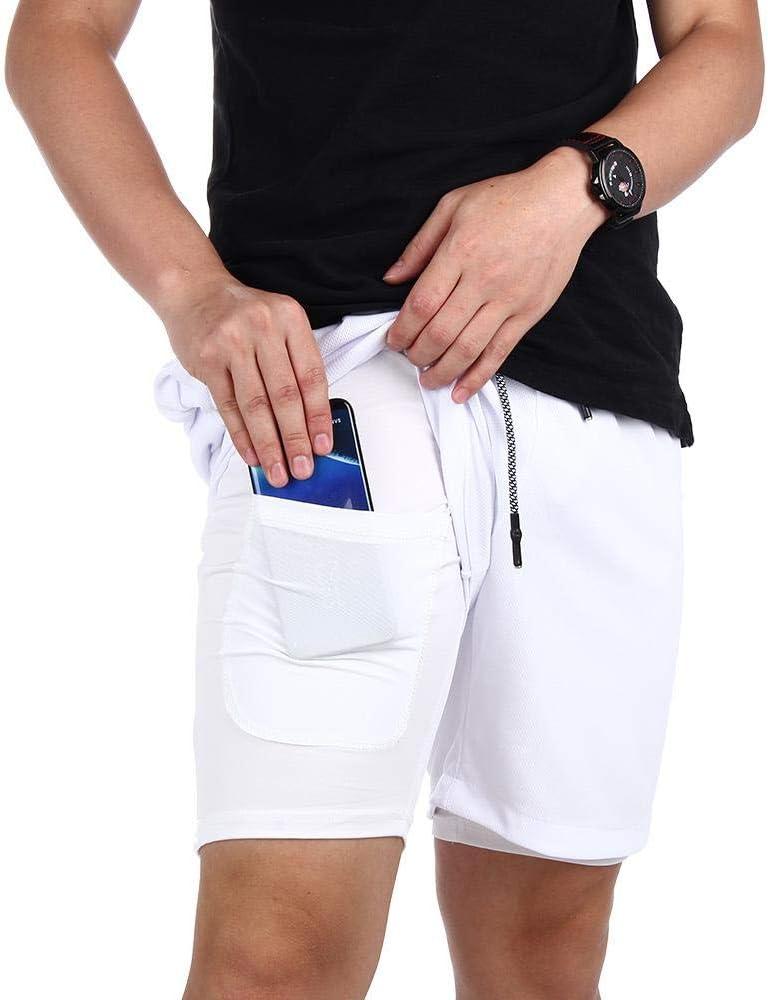 Souke Sports Herren Laufshorts Schnelltrocknend 2 in 1 Shorts Atmungsaktiv Trainingsshorts mit Rei/ßverschlusstaschen