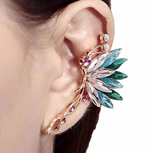 greatfun Mujeres Moda Mariposa Alas de la oreja clip abrazadera de vidrio elegante joyería, Verde