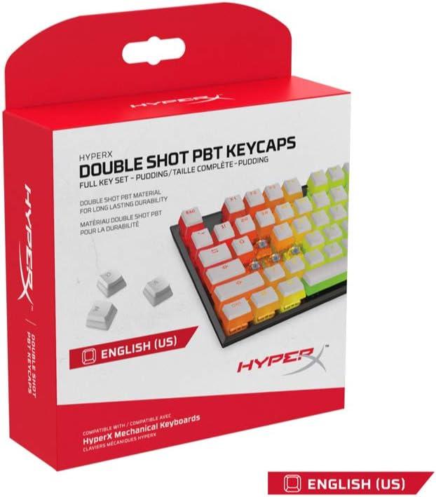 HyperX HXS-KBKC4 Translucent Double Shot PBT Gaming Keycaps, Compatibles con Teclados Mecánicos Juegos, Incluye el Extractor de Teclas, Blanco (US Layout)