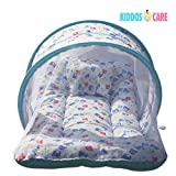 KiddosCare Toddler Mattress with Mosquito Net ( Blue ) for Baby - Ideal for New born to 12 months baby ( Print may vary)