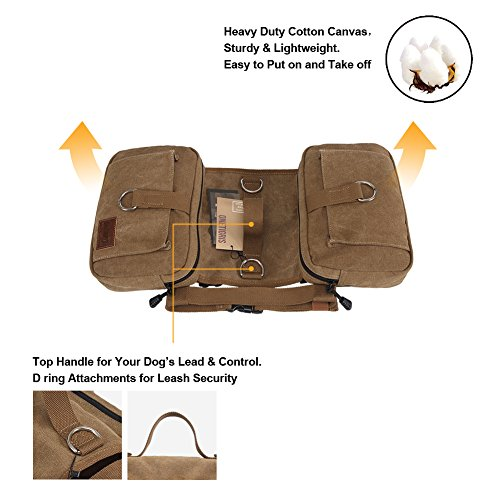 OneTigris Cotton Canvas Dog Pack Hound Travel Camping Hiking Backpack Saddle Bag Rucksack for Medium & Large Dog (Dog Pack)