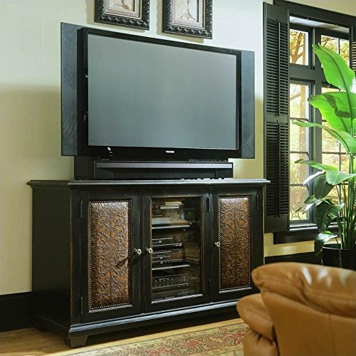 Hooker Furniture Telluride Plasma Black Console with Leather, Black Finish with Reddish Brown Rub-Through (Telluride Leather)