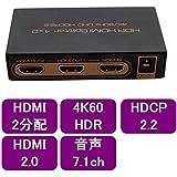 ハイビジョンHDMI2.0対応 2分配器 4K60Hz HDR対応【aHSP12-4KHDR】