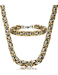 Jstyle Stainless Steel Male Chain Necklace Byzantine...