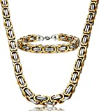 Jstyle Stainless Steel Male Chain Necklace Byzantine Bracelet for Men Jewelry Sets 8.5 Inch 22 24 Inch