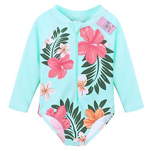 HUANQIUE Baby/Toddler Girl Swimsuit Rashguard Swimwear Long Sleeve One-Piece Aqua 1-2 T -