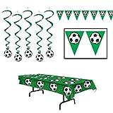 Soccer Dangling Whirls Pennant Banner Tablecover 7 Piece Bundle Set
