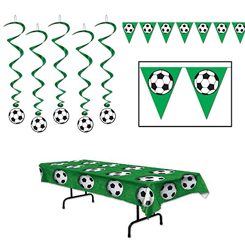 Soccer Party Dangling Whirls Pennant Banner Tablecover 7 Piece Bundle -