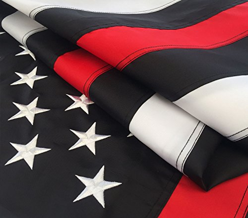 Thin Red Line Flag 3x5 Ft with Embroidered Stars, Sewn Strip