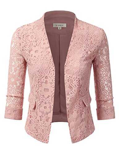 Doublju Classic Collarless Open Front Blazer Jacket For Women With Plus Size DUSTYPINK X-LARGE