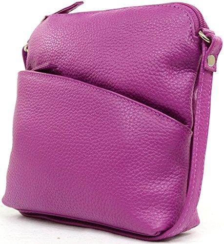 Fucsia Bolso Cuero Mujer De Fucsia Del Del Hombro Bandolera Suave Para negro Lujo Marino Azul Bolso Rosa Piedra Púrpura 87Fqw