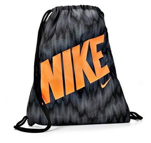 Nike Young Athlete Drawstring Gymsack Backpack Sport Bookbag (Wolf Grey/Black Graphic Mix/Hyper Crimson Signature Logo by NIKE