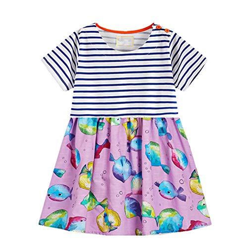 HILEELANG Cute Toddler Girl Tunic Dress Short Sleeve Shirt Stripe Fish Short Sleeve Cotton Basic Dress