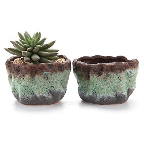 T4U 4.25 Inch Air Bubble Glaze Square Sucuulent Cactus Plant Pots Flower Pots Planters Containers Window Boxes Green 1 Pack of 2